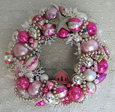 DIY Christmas Wreath Ideas - Sparkly Pink Baubles - Click Pick for 24 DIY Christmas Decor Ideas