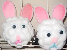 Easter Bunny Cotton Ball Craft