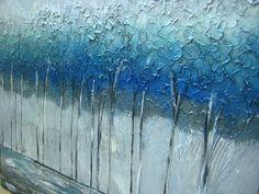Gran medida Original textura árbol plata azul Aqua moderna