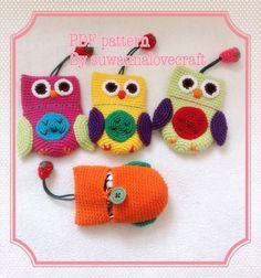 Owl key cover / mini purse crochet pattern by suwannacraftshop