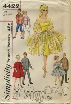 Vintage Barbie™ Doll Clothes Sewing Pattern | Wardrobe for Teen Model and Boyfriend Dolls - Babette, Mitzi, Gina, Babs, Kay, Polly Jr., Barbie and Ken | Simplicity 4422 | Year 196? | One Size