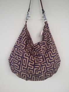 Canvas Fabric Bag Brown Shoulder Purse Cotton by NormasBagBoutique Fabric Purses, Fabric Bags, Canvas Fabric, Cotton Canvas, Large Purses, Ethnic Print, Brown Canvas, Cool Fabric, Cotton Bag