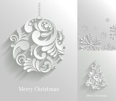 3 White Paper Christmas Element Poster Vector Material