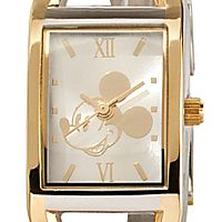 Two-Tone Rectangular Link Mickey Mouse Watch