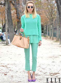mint monochrome outfit
