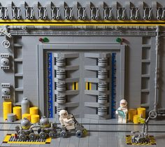 The vastness of LEGO Space awaits beyond this door Lego Spaceship, Lego Robot, Lego Moc, Lego Space Station, Lego Decorations, Classic Lego, Lego Display, Lego Sculptures, Lego Boards