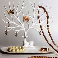Jewelry Display Tower, Eplay® Bracelet Holder Jewelry Rack Necklace Rack for Home Use ABS Material Deer Tree(White) >>> Click on the image for additional details.