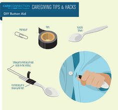 A paper clip, tape and a plastic spoon can be used by those with limited dexterity to button a shirt.