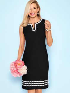 We've taken a classic shift dress design and enhanced the style with high contrast rickrack trim. Elegant and distinctive, this stunner is perfect for the office or the office party. Add a shrug to complete the look. | Talbots