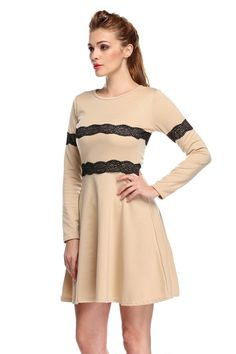Material: Cotton    Color: Khaki    Collar: O-Neck   Sleeve: Long Sleeve   Style: Fashion   Zipper: Side Zipper   Dress Length: Above Knee   Pattern: Solid   Occasion: Casual, Party   Garment Care: Hand-wash and Dry Clean   Unique style, make you more beautiful, fashion, sexy and elegant.      Size     Shoulder     Sleeve     Bust     Waist     Length       M     36 cm     14 inch     59 cm     23 inch     84 cm     32.8 inch     68 cm     26.5 inch     89 cm     34.7 inch       L     37 ...