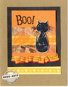 Boo!  By Sally Traidman    Use a silhouette image for a dramatic effect.    Featured Product:  CG369 Halloween Moon      Hero Materials:  CG369 Halloween Moon  AF101 Memories Ink Pad - Black  AF181 Chalk Ink: Poppy  PS507 Kraft Notecards with Envelopes (8)  PS598 Mandarin Layering Papers  PS600 Daffodil Layering Papers  PS610 Snow Layering Papers  CL560 Spooky Halloween