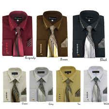 Men's Milano French Cuff Dress Shirt with Matching Tie and Handkerchief SG35