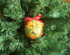 Decoupage Christmas ball by FestivitiesFactory on Etsy