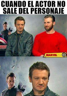 marvel memes :v Marvel Avengers, Avengers Memes, Marvel Funny, Marvel Dc Comics, Marvel Actors, Funny Spanish Memes, Funny Memes, Jokes, Movie Memes