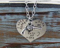 I Keep A Close Watch On This Heart Of Mine Hand Stamped Heart And Pistol Charm Revolver Necklace