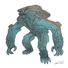 Early Pacific Rim kaiju concept art from Guy Davis