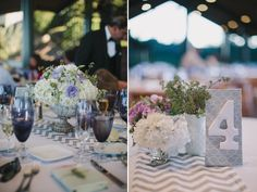 Our Gray Chevron Table Runners At A Wedding Planned By Charmed Events Group
