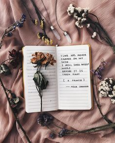 time has woven  courage on my skin i'll shed myself whole before it is taken away — a promise // poetry by noor unnahar ✨  // art journal journaling ideas inspiration, tumblr hipsters aesthetics pale grunge indie floral aesthetic dry flowers flatlay creative instagram photography diy craft, words quotes poetic artsy writing writers of color pakistani artist, beige notebook stationery //