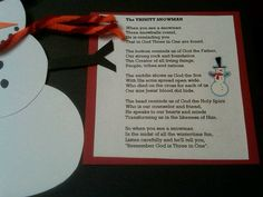 Explanation of the Trinity for kids using a snowman. Great winter lesson!