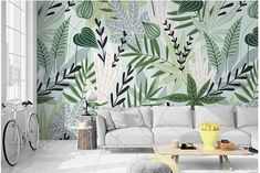 Watercolor Handpainted Leaf Wallpaper, Northern European Herbs and Tropical Plants Wall Murals Wall pflanzen, Watercolor Handpainted Leaf Wallpaper, Northern European Herbs and Tropical Plants Wall Murals Wall Decor for Living or Dinning Room Custom Wallpaper, Of Wallpaper, Photo Wallpaper, Painting Wallpaper, Mural Art, Wall Murals, Open Wall, Smooth Walls, Cleaning Walls