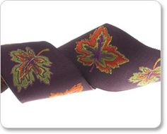 """Renaissance Ribbons - 1-1/2"""" Leaves in Burgundy - By Laura Foster Nicholson"""