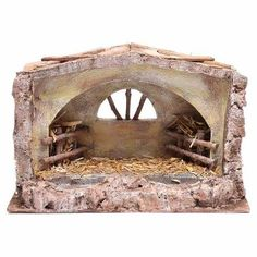 Stalla con finestra ad arco cm Stable with arched window cm Christmas Grotto Ideas, Christmas Crib Ideas, Christmas Program, Christmas Nativity, Christmas Items, Christmas Crafts, Christmas Decorations, Holiday Decor, Sticks Furniture