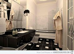 Sleek Ideas for Modern Black and White Bathrooms | Home Design Lover  Eugene Kruchinkina You could feel the sophistication of this bathroom with a glossy black and white floor tiles.
