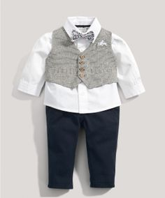Boys Welcome To The World 4 Piece Tweed Waistcoat Set - Special Occasion & Christening - Mamas & Papas