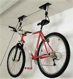 Bicycle Pulley Hoist Bike Lift Cycle Home Garage Storage Rack by Fifth Gear. Bicycle Pulley Hoist Bike Lift Cycle Home Garage Storage Rack. Bike Storage Lift, Bike Lift, Garage Storage Racks, Garage Organization, Surfboard Storage, Surfboard Rack, Pro Bike, Organization Ideas, Garage Velo