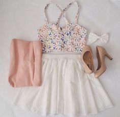 White Skirt Top Floral Blouse