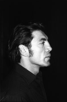 """There is no good side to celebrity."" Javier Bardem, black and white photo"