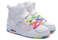 outlet store 5de1e 8e010 Nike Rainbow Jordans Flight 45 High Tops White Pink Flash