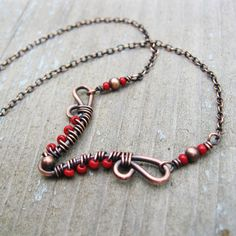 Antiqued Copper and Red bead seed beaded wire by BearRunOriginals, $24.00