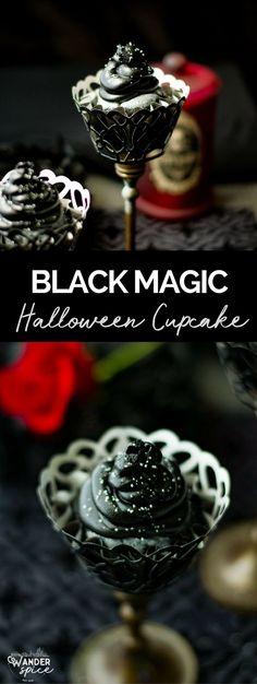 Black Magic Cupcakes - Black Cupcake Recipe for Halloween with Silver Glitter #halloween #cupcakes