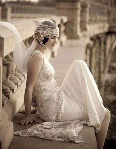 #vintage. I love the wrapped veil with beading. Vintage wedding