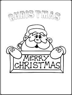 Letras de navidad en ingles con santa clos para colorear y recortar