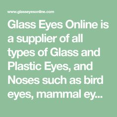 Glass Eyes Online is a supplier of all types of Glass and Plastic Eyes, and Noses such as bird eyes, mammal eyes, reptile eyes, doll eyes and teddybear eyes as well as Plastic Safety Eyes and Custom Painted Eyes for various projects, such as Decoy Carving, Lure Making, Crochet, Needlefelting, Knitting, Crafting, Plush Toys, Stuffed Animals, Amigurumi, Sewing, Steampunk Jewelry, Polymer Clay, and other creative projects.