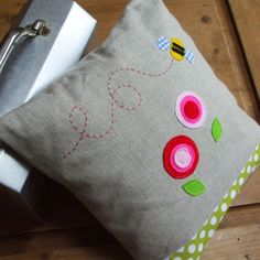 linen bee cushion would please my little miss micah. #pillow #folksy