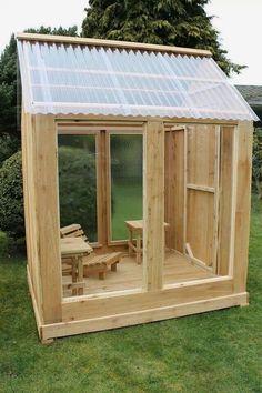 26 budget backyard upgrades … - back yard diy Greenhouse Shed, Simple Greenhouse, Backyard Sheds, Sloped Backyard, Sloped Garden, Backyard Chickens, Backyard Patio, Garden Buildings, Building A Shed