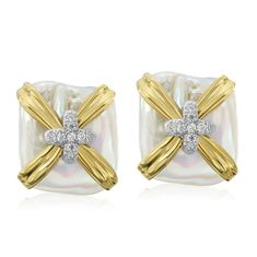 18K Gold X Pearl Earrings with diamonds Designed By The Mazza Company