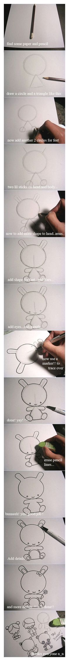Draw a chibi bunny tutoriaL by ~Blackmago on deviantART. Appliqué art?