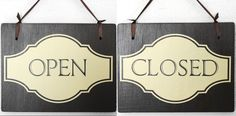 Open Closed Store Business Sign Brown & Cream Cottage 2 Sided Handmade wood  #handmade
