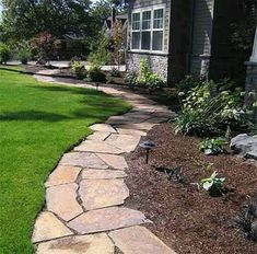 Flagstone Pathway for Flowerbed Edging