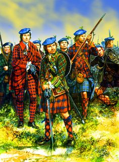 Lord Ogilvy's Clan Regiment (in the center, a Clan Fraser warrior), Jacobite Rebellion 1745