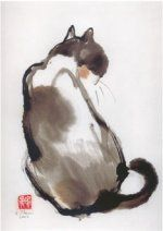 Black Manx and Royal Siamese Artist: W. I have a Siamese cat who thinks the universe revolves around him. Asian Cat, Japanese Cat, Tinta China, Back Art, Cat Drawing, Siamese Cats, Beautiful Cats, Animal Paintings, Dog Art
