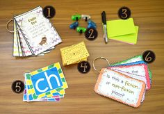 Blog post with ideas on how to organize Your Reading Supplies! The crate has 3 sections, the first holds all these fun materials, the second holds the guided reading books and the last general comprehension reading response pages. There is a free printable label for your crate.