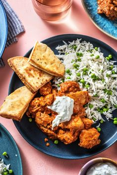 A mildly-spiced chicken curry made with peas and creamy yogurt. Make sure to use the toasted naan to scoop up all that delicious goodness! Side Dish Recipes, Meat Recipes, Indian Food Recipes, Asian Recipes, Chicken Recipes, Dinner Recipes, Weeknight Recipes, Cooking Recipes, Asian Foods