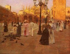 Romolo Tessari (Castelfranco Veneto 1868 - Mira 1925 ) Piazza San Marco