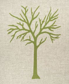 Decorative pillow case  Apple green tree print by ClassicByNature