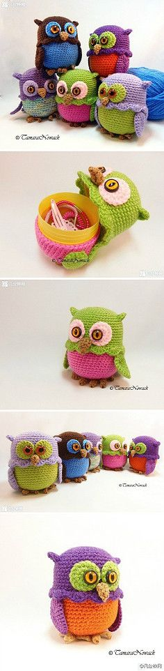 DIY Inspiration Lovely Funny Owls to storage a little gift or other small things. 钩针猫头鹰收纳盒